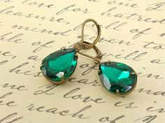 Vintage Estate Emerald Rhinestone Earrings by peachtreedesigns3, $19.00 NEW!!! Hollywood style large vintage emerald rhinestone earrings.