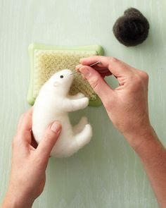 Needle felted Polar Bear tutorial.  Pin now, watch later.