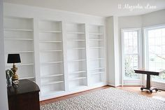 Custom DIY built-ins using IKEA Billy Bookcases, an affordable way to get the expensive built-in look for a fraction of the price. Built In Wall Shelves, Kitchen Wall Shelves, Bookcase Wall, Ikea Wall Shelves, Custom Bookshelves, Bookshelves Built In, Built Ins, Library Shelves, Hanging Bookshelves