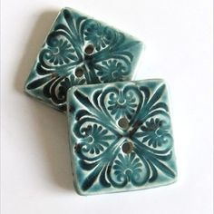 Handmade Artisan Ceramic Buttons, Large Square, Teal blue x2