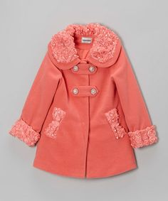 Take a look at this Coral Petals & Pearls Swing Jacket - Girls by Bijan Kids on #zulily today!