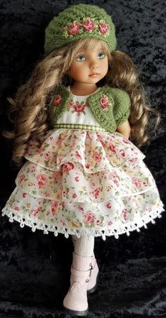 """DRESS,SWEATER&BOOTS SET MADE FOR EFFNER LITTLE DARLING,MY MEADOW&MARU 13"""" DOLLS"""