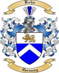 Kuhn family crest: Don't know if my paternal grandmother Kuhn is of the same lineage. Her parents immigrated from Germany early 20th century.