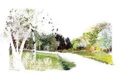Concept Board Architecture, Collage Architecture, Architecture Graphics, Architecture Drawings, Urban Architecture, Photomontage, Landscape Drawings, Landscape Design, Landscape Architecture Perspective