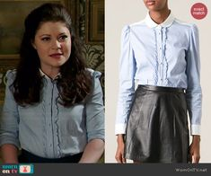 Belle's blue striped shirt with front ruffles on Once Upon a Time.  Outfit Details: http://wornontv.net/46568/ #OUAT