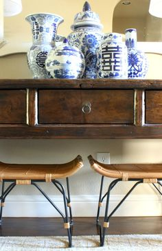 Tips for styling a console table. Such a beautiful home!