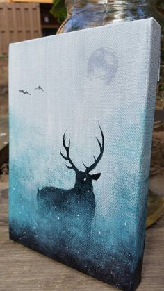 A 5x7 original deer painting, hand-painted on stretched canvas. It is a one-of-a-kind original, and no other painting can be made exactly the same. It is truly a unique piece of art. Also, your galaxy canvas painting is full of crisp, colorful details that look great when displayed