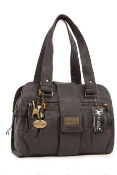 Handtasche - Leder - Zara von Catwalk Collection - Braun - Große: B: 32.5 H: 23 T: 13 cm