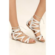 54a21b8a375 Neala Silver Lace-Up Flat Sandals ( 32) ❤ liked on Polyvore featuring shoes
