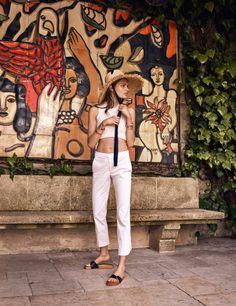 Pants: sun hat straw hat summer outfits white top white crop tops crop tops cropped white slide