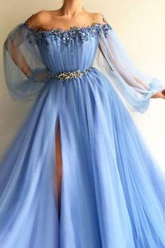 Elegant Blue Long Sleeves Off the Shoulder Beaded Crystal Split Prom Dresses N1277 #promdresswithsleeves #promdresses