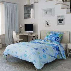 Krepové povlečení modré zelené ohňostroj květiny květy moderní mandala Comforters, Blanket, Bed, Furniture, Home Decor, Lily, America, Creature Comforts, Quilts