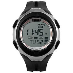 SKMEI Unisex Men Sports Digital Wrist Watch Waterproof Thermometer  White *** You can get more details by clicking on the image.Note:It is affiliate link to Amazon. #girl