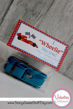 DIY Printable Valentine Bag Topper - Racecar. $5.00, via Etsy.