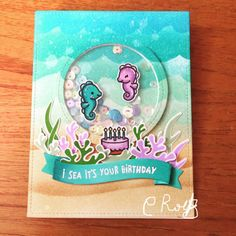 Lawn Fawn was not Sea horsin' around with new release! Pop Up Cards, Cute Cards, Handmade Birthday Cards, Greeting Cards Handmade, Paper Craft Making, Nautical Cards, Lawn Fawn Stamps, Interactive Cards, Shaker Cards