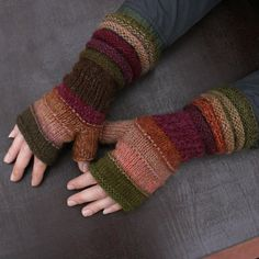 Lingonberry Tea Striped Fingerless Unmatched Hand Knit Mittens knit with upcycled wool and kid mohair