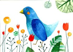 blue bird illustration