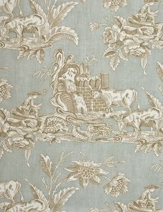 robert allen toile fabrics | Old Macdonald Curtain Fabric Pale blue cotton curtain fabric with ...