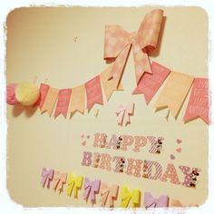 立体リボン/Happy Birthday/セリア/ウォールステッカー/誕生日飾り付け…などのインテリア実例 - 2016-07-13 23:21:57 | RoomClip(ルームクリップ)