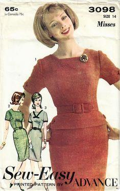 Vintage Dress Patterns, Vintage Dresses, Bow Shorts, 1960s Fashion, One Piece Dress, Size 14 Dresses, Fitted Bodice, Knit Dress, Slim