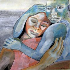 """""""Dual"""", 2013 Técnica mixta sobre papel, 40x40 cm   Lo masculino y lo femenino encajan como piezas de un delicado engranaje dentro de nosotros, como las banderas de la alegría y de la tristeza, como la juventud que vivimos y el peso de la edad caída sobre nuestros cuerpos, como la luminosa caridad y el pertinaz egoísmo, como los hijos que un día fuimos y los padres en los que quizás nos convertiremos, como el propio silencio y la reflexión en la palabra. Todos somos dos. Todos somos uno."""