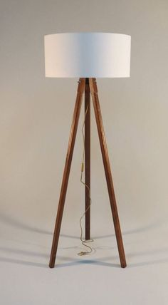 Handmade Tripod Floor lamp with wooden stand and drum lampshade different colors of the lampshade model Zana made from wood fabricmetal