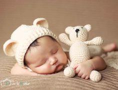 Crochet Baby Hat Bear Handmade Newborn Photography Props Baby Cap Beanie,Infantil Fotografia Accessories,#P0254