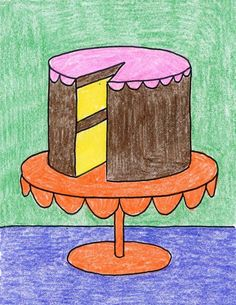 Drawings When you are ready to learn how to draw a cake that looks more dimensional, try this one. Start with ovals and add some curves to make your drawing look good enough to eat! Drawing Lessons For Kids, Art Drawings For Kids, 3d Drawings, Art For Kids, Summer Drawings, Oil Pastel Drawings Easy, Colorful Drawings, Drawing Projects, Art Projects