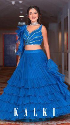 Tanya Sharma in Kalki Azure Blue Ruffle Layered Skirt And Crop Top With Mirror And Ruffled Dupatta Bridal Mehndi Dresses, Indian Bridal Lehenga, Lehenga Saree Design, Lehenga Designs, Indian Designer Outfits, Designer Dresses, Indian Dresses Traditional, Saree Designs Party Wear, Asian Wedding Dress