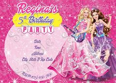 Barbie Princess and the Popstar Invitation, FREE thank you card