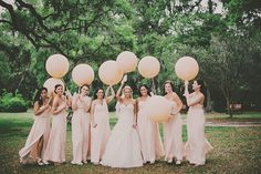 Peach bridesmaids dresses and balloons by Hyer Images | www.onefabday.com