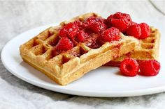 Brown Sugar Cornmeal Waffles with Fresh Raspberry Syrup, via Babble.com