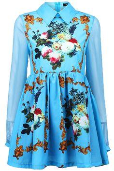 #Romwe Sheer Sleeved Floral Dress