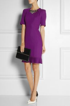 Matthew Williamson's violet wool-crepe dress is pleated at the neckline and subtly nipped in at the waist for a flattering silhouette.