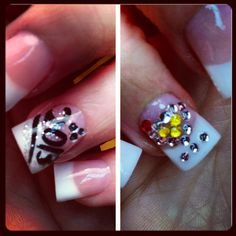 New Years nails, pink and whites