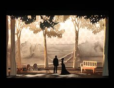 """Set Design for Anton Chekov's """"The Cherry Orchard"""".All four scenes rendered first by hand, then digitally. Scenic white model built by hand. Design Set, Stage Set Design, Set Design Theatre, Design Model, Conception Scénique, Anton, Scenic Design, Stage Lighting, Stop Motion"""