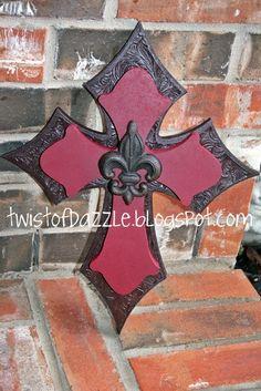 Medium Brown Leather Cross with Fleur De Lis