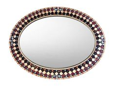 Oval Mosaic Wall Mirror Ornate Mirror Jeweled Tones Home Mosaic Wall Art, Mirror Mosaic, Glass Mosaic Tiles, Ornate Mirror, Oval Mirror, Round Mirrors, Picture Wire, Green Street, Silver Flowers