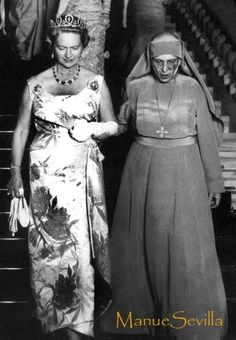 Queen Sibylla of Sweden, wearing the Connaught tiara, at the big royal get together in Athens 1962, arm in arm with Prince Philip's mother, Princess Alice of Greece.