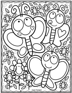 Kindergarten coloring pages - Coloring Club — From the Pond Spring Coloring Pages, Cute Coloring Pages, Disney Coloring Pages, Printable Coloring Pages, Free Coloring, Adult Coloring Pages, Coloring Pages For Kids, Coloring Sheets, Coloring Books