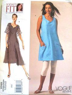 vogue todays fit pattern 1101 - designer sandra betzina's bias cut dress and tunic - (2009) - UNCUT