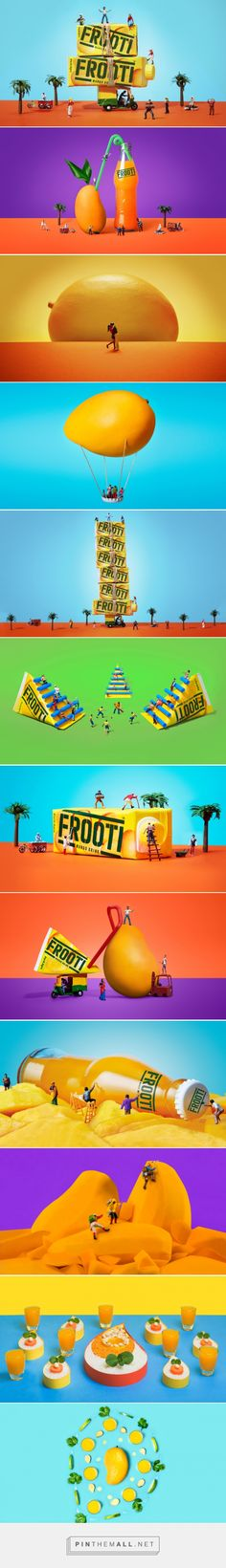 Frooti – Sagmeister & Walsh The goal was to introduce the new packaging in a fresh, bold, and playful way. The idea we came up with is to create a miniature world using tiny scaled models of vehicles, people and plant life. Only the Frooti packaging and mangos were kept in real life scale. This allowed the packaging and the mango to appear as the hero of the shots while allowing us to tell stories and add moments of humor. We introduced four bold colors to the brand which complement the…