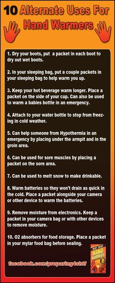 10 Alternate Uses for Hand Warmers – Infographic. click here: http://marclanders.com/10-alternate-uses-handwarmers/
