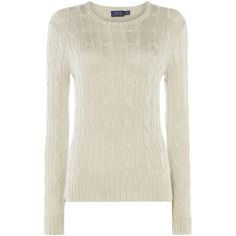 Polo Ralph Lauren Metallic Crew Neck Sweater ($210) ❤ liked on Polyvore featuring tops, sweaters, women knitwear, crewneck sweaters, crew-neck tops, polo ralph lauren sweater, round neck sweater and metallic top