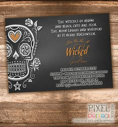 Halloween Party Invitation, Halloween Invitation, Day Of The Dead . Halloween Birthday Party Invitations, Halloween Party Invitations, Halloween Cards, Scary Halloween, Halloween Ideas, Halloween Invitaciones, Day Of The Dead Party, Wicked Good, Baby Shower