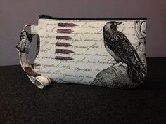 Large Nevermore Wristlet, #handmade #handmadebags #skullbags #macabrebags #skulls #macabre #nevermore #raven