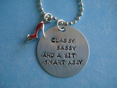 Hand Stamped METAL PENDANT with Red High Heel by RainShine4AZ, $18.00