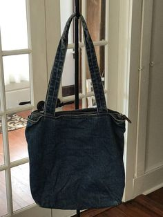 ca34f6afe1b Vintage 1990s Denim Purse Small Bag Leather accents on zipper pulls Large  main compartment Small zipper