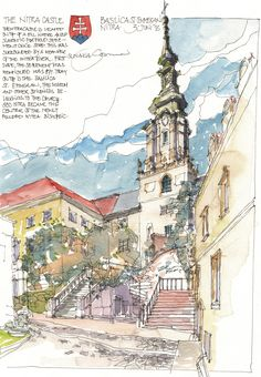 Watercolor Architecture, Watercolor Landscape, Art And Architecture, Sketch Painting, Watercolor Sketch, Landscape Drawings, Urban Sketchers, Illustration, Art Sketchbook