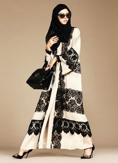 On Sunday, Dolce & Gabbana launched their first collection of hijabs and abayas. Aiming for modesty, the collection features black and beige items accentuated with lace as well as floral and lemon prints.